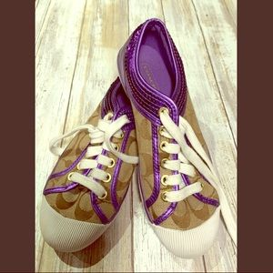 Coach cute purple and tan sneakers